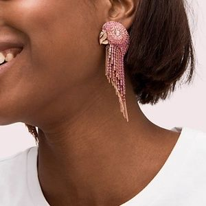Tropical Paradise Statement Parrot Fringe Earrings